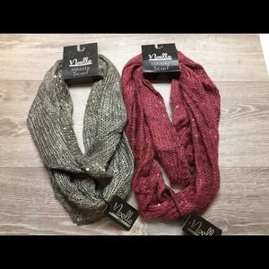 NWT Bundle of 2 Sequin Infinity Scarves